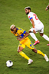 Luis Quinones of Tigres UANL (MEX) in action against CD Olimpia (HON) during their CONCACAF Champions League Semi Finals match at the Orlando's Exploria Stadium on 19 December 2020, in Florida, USA. Photo by Victor Fraile / Power Sport Images