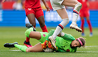 CARSON, CA - FEBRUARY 9: Stephanie Labbe #1 of Canada makes a save during a game between Canada and USWNT at Dignity Health Sports Park on February 9, 2020 in Carson, California.