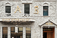 Arctic Brotherhood Hall, circa 1899, Skagway Alaska. The facade is made of pieces of driftwood.