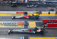 Feb 23, 2020; Chandler, Arizona, USA; NHRA top fuel driver Antron Brown (near) against Doug Kalitta during the Arizona Nationals at Wild Horse Pass Motorsports Park. Mandatory Credit: Mark J. Rebilas-USA TODAY Sports
