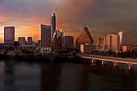 Austin Skyline during Beautiful Colorful Sunset as hundreds gather on the Congress Avenue Bridge to watch the evening's 1.5 million bat's exodus from underneath the bridge.