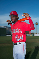 AZL Angels outfielder D'Shawn Knowles (20) poses for a photo before an Arizona League game against the AZL Padres 2 at Tempe Diablo Stadium on July 18, 2018 in Tempe, Arizona. The AZL Padres 2 defeated the AZL Angels 8-1. (Zachary Lucy/Four Seam Images)