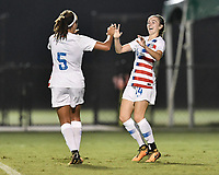 Lakewood Ranch, FL - Wednesday, October 10, 2018:   Payton Linnehan, Mia Fishel, goal celebration during a U-17 USWNT match against Colombia.  The U-17 USWNT defeated Colombia 4-1.