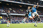 Martyn Waghorn heads in the winning goal for Rangers