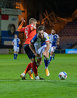 """Blackburn Rovers' Ben Brereton (right) in not fouled by Luton Town's Martin Cranie (left) resulting in getting a yellow card for """"Simulation""""<br /> <br /> Photographer David Horton/CameraSport<br /> <br /> The EFL Sky Bet Championship - Luton Town v Blackburn Rovers - Saturday 21st November 2020 - Kenilworth Road - Luton<br /> <br /> World Copyright © 2020 CameraSport. All rights reserved. 43 Linden Ave. Countesthorpe. Leicester. England. LE8 5PG - Tel: +44 (0) 116 277 4147 - admin@camerasport.com - www.camerasport.com"""