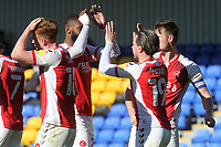 Barrie McKay celebrates scoring Fleetwood's opening goal with Kyle Vassell during AFC Wimbledon vs Fleetwood Town, Sky Bet EFL League 1 Football at Plough Lane on 5th April 2021