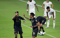 LOS ANGELES, CA - SEPTEMBER 13: Mark-Anthony Kaye #14 of LAFC scores a goal and celebrates with team mate Jose Cifuentes #11 during a game between Portland Timbers and Los Angeles FC at Banc of California stadium on September 13, 2020 in Los Angeles, California.