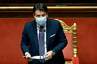 Italian premier Giuseppe Conte wearing a face mask, during his speech to inform the Senate about the last Covid-19 decree.<br /> Rome (Italy), October 21st 2020<br /> Photo Samantha Zucchi Insidefoto