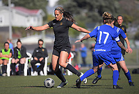 Action from the Capital Women's Premier football match between Island Bay 1sts and Petone Reserves at Wakefield Park in Wellington, New Zealand on Saturday, 24 April 2021. Photo: Dave Lintott / lintottphoto.co.nz