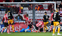 Newport County's Padraig Amond scores his side's first goal<br /> <br /> Photographer Chris Vaughan/CameraSport<br /> <br /> The EFL Sky Bet League Two - Lincoln City v Newport County - Saturday 22nd December 201 - Sincil Bank - Lincoln<br /> <br /> World Copyright © 2018 CameraSport. All rights reserved. 43 Linden Ave. Countesthorpe. Leicester. England. LE8 5PG - Tel: +44 (0) 116 277 4147 - admin@camerasport.com - www.camerasport.com