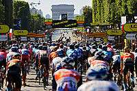18th July 2021; Paris, France;  Illustration of peloton at Arc De Triomphe during stage 21 of the 108th edition of the 2021 Tour de France cycling race, the stage of 108,4 kms between Chatou and finish at the Champs Elysees in Paris.