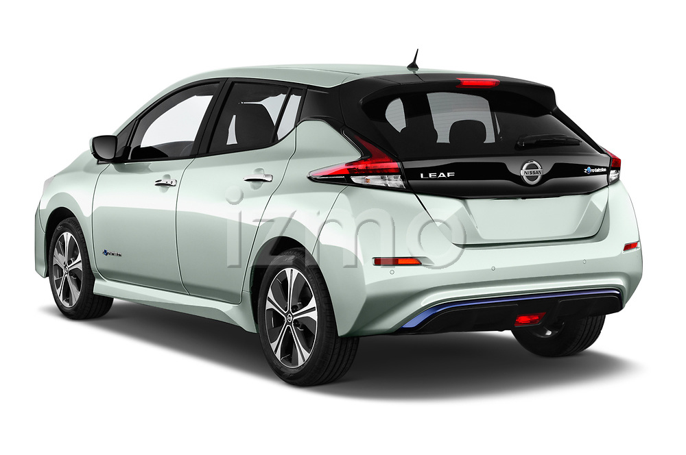 Car pictures of rear three quarter view of a 2018 Nissan Leaf N Connecta 5 Door Hatchback angular rear