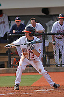 University of Virginia infielder Keith Werman #2 at bat during a game against the Boston College Eagles at Watson Stadium at Vrooman Field on February 17, 2012 in Conway, SC.  Boston College defeated Virginia 5-3.  (Robert Gurganus/Four Seam Images)