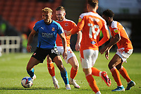 Swindon Town's Hallam Hope under pressure from Blackpool's Oliver Turton, Demetri Mitchell and Dan Kemp<br /> <br /> Photographer Kevin Barnes/CameraSport<br /> <br /> The EFL Sky Bet League One - Blackpool v Swindon Town - Saturday 19th September 2020 - Bloomfield Road - Blackpool<br /> <br /> World Copyright © 2020 CameraSport. All rights reserved. 43 Linden Ave. Countesthorpe. Leicester. England. LE8 5PG - Tel: +44 (0) 116 277 4147 - admin@camerasport.com - www.camerasport.com