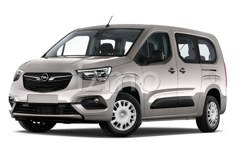 Stock pictures of low aggressive front three quarter view of 2021 Opel Combo-Life XL-Edition 5 Door Minivan Low Aggressive