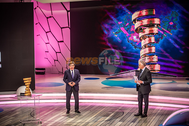 Urbano Cairo President of RCS Media Group and Antonello Orlando at the presentation of the 2021 Giro d'Italia Route in the Rai Studios in Corso Sempione, Milan, Italy. 23rd February 2021.  <br /> Picture: LaPresse/Claudio Furlan | Cyclefile<br /> <br /> All photos usage must carry mandatory copyright credit (© Cyclefile | LaPresse/Claudio Furlan)