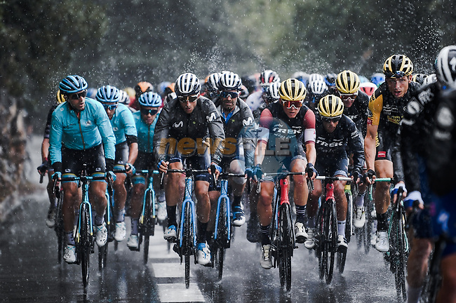 Heavy rain falls during Stage 3 of Tour de France 2020, running 198km from Nice to Sisteron, France. 31st August 2020.<br /> Picture: ASO/Pauline Ballet   Cyclefile<br /> All photos usage must carry mandatory copyright credit (© Cyclefile   ASO/Pauline Ballet)