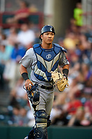 Trenton Thunder catcher Chace Numata (6) jogs off the field during a game against the Richmond Flying Squirrels on May 11, 2018 at The Diamond in Richmond, Virginia.  Richmond defeated Trenton 6-1.  (Mike Janes/Four Seam Images)