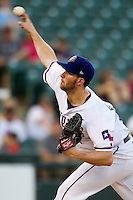 Round Rock Express pitcher Greg Reynolds #28 delivers during the Pacific Coast League baseball game against the Omaha Storm Chasers on July 22, 2012 at the Dell Diamond in Round Rock, Texas. The Express defeated the Chasers 8-7 in 11 innings. (Andrew Woolley/Four Seam Images).