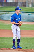 Ogden Raptors starting pitcher Kevin Malisheski (28) looks to the plate against the Grand Junction Rockies at Lindquist Field on July 23, 2019 in Ogden, Utah. The Raptors defeated the Rockies 11-4. (Stephen Smith/Four Seam Images)