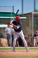 GCL Cardinals third baseman Liam Sabino (52) at bat during a game against the GCL Marlins on August 4, 2018 at Roger Dean Chevrolet Stadium in Jupiter, Florida.  GCL Marlins defeated GCL Cardinals 6-3.  (Mike Janes/Four Seam Images)