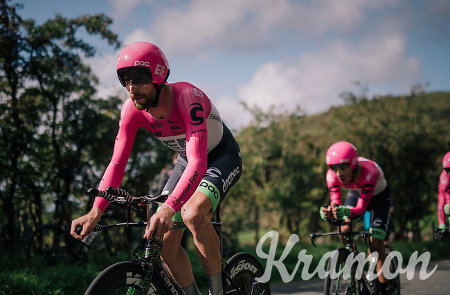 Team EF Education First -DRAPAC p/b cannondale led by Taylor Phinney (USA/Education First-Drapac)<br /> <br /> Time Trial through the magnificent Lake District National Park in Cumbria<br /> <br /> Stage 5 (TTT): Cockermouth to Whinlatter Pass (14km)<br /> 15th Ovo Energy Tour of Britain 2018