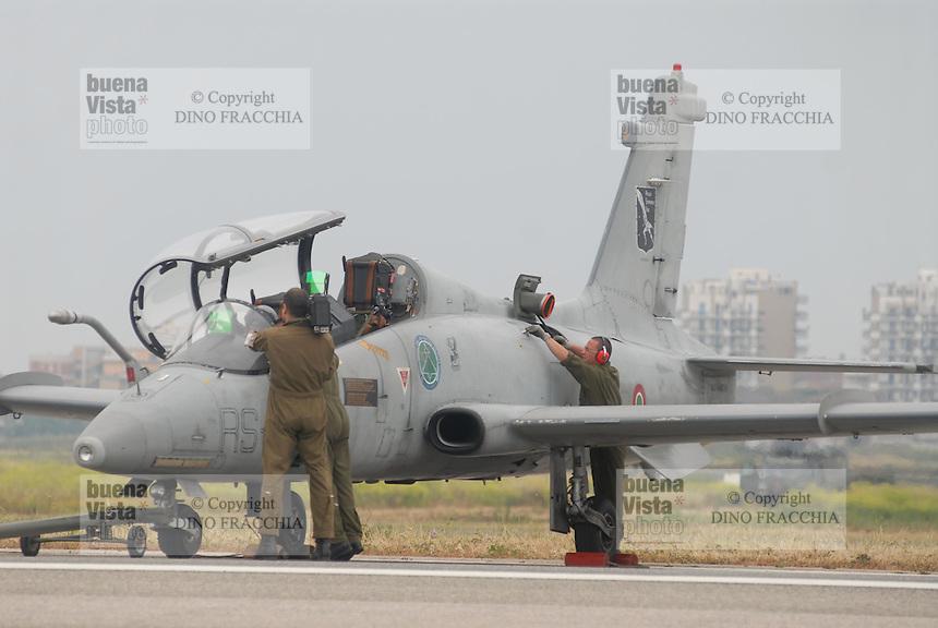 - Italian Air Force, Aermacchi MB 339 training aircraft of the Experimental Flight Unit of Pratica di Mare (Rome)....- Aeronautica Militare Italia, aereo da addestramento Aermacchi MB 339 del Reparto Sperimentale Volo di Pratica di Mare (Roma)......