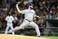 Toronto Blue Jays pitcher Todd Redmond (58) delivers a pitch during a game against the Chicago White Sox on August 15, 2014 at U.S. Cellular Field in Chicago, Illinois.  Chicago defeated Toronto 11-5.  (Mike Janes/Four Seam Images)