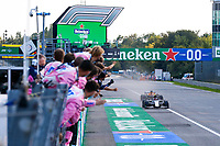 6th September 2020; Autodromo Nazionale Monza, Monza, Italy ; Formula 1 Grand Prix of Italy, Race Day;  GASLY Pierre fra, Scuderia AlphaTauri Honda AT01, celebrating victory as he takes the chequered flag