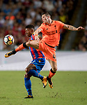 Liverpool FC midfielder Ryan Kent (R) fights for the ball with Crystal Palace defender Patrick van Aanholt (L) during the Premier League Asia Trophy match between Liverpool FC and Crystal Palace FC at Hong Kong Stadium on 19 July 2017, in Hong Kong, China. Photo by Weixiang Lim / Power Sport Images