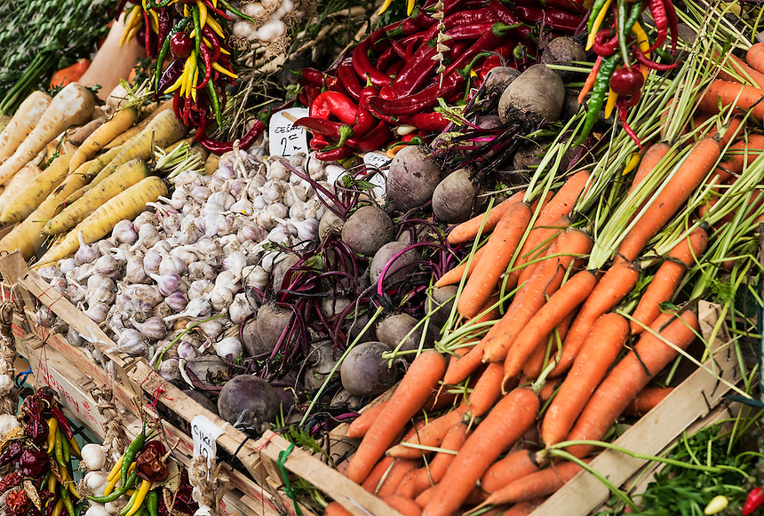 Fresh produce at a vendor stall, Rijeka, Croatia