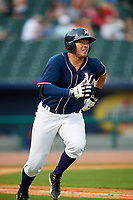 Northwest Arkansas Naturals designated hitter Samir Duenez (9) runs to first base during a game against the Midland RockHounds on May 27, 2017 at Arvest Ballpark in Springdale, Arkansas.  NW Arkansas defeated Midland 3-2.  (Mike Janes/Four Seam Images)