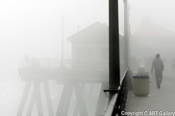 A Walk on the Pier - Huntington Beach in fog.