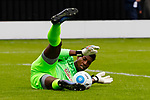 Salford City 2 FC United of Manchester 1, 15/07/2017. Moor Lane, Pre Season Friendly. Salford goalkeeper, Tony Aghayere in luminous green, gathers the ball. Salford City v FC United of Manchester in a pre season friendly at Moor Lane Salford. Photo by Paul Thompson.
