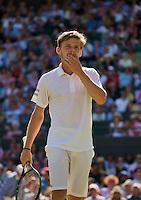 England, London, Juli 06, 2015, Tennis, Wimbledon, David Goffin (BEL) makes a gesture in his match against Stan Wawrinka (SUI)  <br /> Photo: Tennisimages/Henk Koster