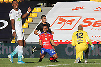 PASTO - COLOMBIA,20-09-2020:Ederson Moreno del Deportivo  Pasto celebra después de anotar el primer gol de su equipo durante el partido entre Deportivo Pasto y Jaguares de Córdoba por la fecha 9 de la Liga BetPlay DIMAYOR I 2020 jugado en el estadio Estadio La Libertad de la ciudad de Pasto. / Ederson Moreno of Deportivo Pasto celebrates after scoring the first goal of his team during match between Deportivo Pasto and Jaguares of Cordoba for the date 9 BetPlay DIMAYOR League I 2020 played at La Libertad stadium in Pasto city city. Photo: VizzorImage / Leonardo Castro / Cont