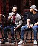 """Marc delaCruz and Terrance Spencer during the Q & A before The Rockefeller Foundation and The Gilder Lehrman Institute of American History sponsored High School student #EduHam matinee performance of """"Hamilton"""" at the Richard Rodgers Theatre on 5/22/2019 in New York City."""
