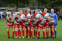 team of Zulte Waregem with up from L to R : Summer Rogiers (8) of Zulte Waregem   Romy Camps (3) of Zulte Waregem   Charlotte Laridon (9) of Zulte Waregem   Lotte De Wilde (19) of Zulte Waregem   goalkeeper Lowiese Seynhaeve (1) of Zulte Waregem   , down from L to R Pauline Windels (5) of Zulte Waregem   Anne Lore Scherrens (22) of Zulte Waregem   Talitha De Groote (17) of Zulte Waregem   Liesa Capiau (15) of Zulte Waregem   Laura Vervacke (20) of Zulte Waregem   Ella Vierendeels (4) of Zulte waregem    pictured during a female soccer game between Sporting Charleroi and SV Zulte-Waregem on the third matchday in the 2021 - 2022 season of Belgian Scooore Womens Super League , friday 3 September 2021 in Marcinelle , Belgium . PHOTO SPORTPIX | STIJN AUDOOREN