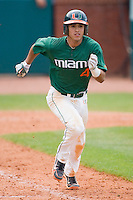 Stephen Perez #4 of the Miami Hurricanes hustles down the first base line against the Boston College Eagles at the 2010 ACC Baseball Tournament at NewBridge Bank Park May 27, 2010, in Greensboro, North Carolina.  The Eagles defeated the Hurricanes 12-10 in 10 innings.  Photo by Brian Westerholt / Four Seam Images