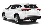 Car pictures of rear three quarter view of a 2020 Toyota Highlander LE 5 Door SUV angular rear