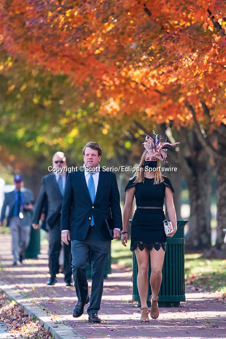 November 6, 2020: Attendees gather under fall foliage at Keeneland Racetrack in Lexington, Kentucky, on Friday, November 6, 2020. Scott Serio/Eclipse Sportswire/Breeders Cup/CSM
