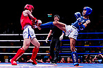 Hsueh You Sheng (Red) of Taiwan fights against Wong Kim Nam (Blue) of Hong Kong in the male muay 60KG division weight bout during the East Asian Muaythai Championships 2017 at the Queen Elizabeth Stadium on 11 August 2017, in Hong Kong, China. Photo by Yu Chun Christopher Wong / Power Sport Images