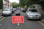 Street Party. The Big Lunch road closed sign. An Eden Project to help to build community cohesion Brunswick Street Walthamstow Village London E17 England 2009 2000s