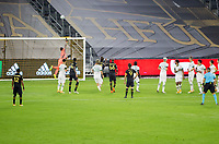 LOS ANGELES, CA - SEPTEMBER 13: Portland Timbers, LAFC during a game between Portland Timbers and Los Angeles FC at Banc of California stadium on September 13, 2020 in Los Angeles, California.