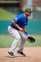 Iowa Cubs third baseman Chris Dominguez (18) during a game against the Memphis Redbirds on May 29, 2017 at AutoZone Park in Memphis, Tennessee.  Memphis defeated Iowa 6-5.  (Mike Janes/Four Seam Images)