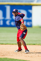 Wilmer Difo (6) of the Hagerstown Suns makes a throw to first base during infield practice prior to the game against the Hickory Crawdads at L.P. Frans Stadium on May 7, 2014 in Hickory, North Carolina.  The Suns defeated the Crawdads 4-2.  (Brian Westerholt/Four Seam Images)