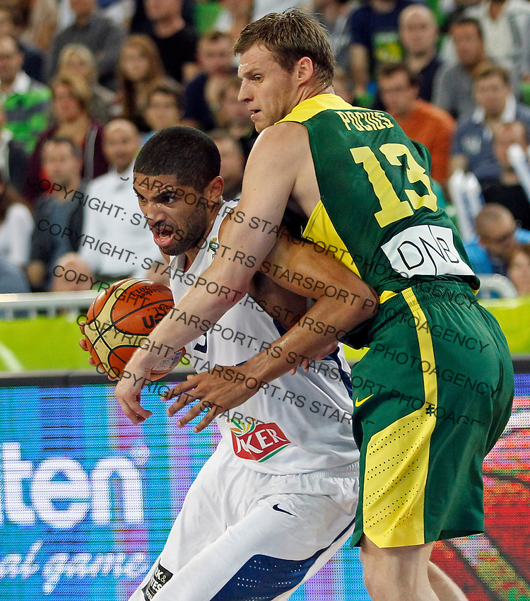 "France`s Nicolas Batum in action during European basketball championship ""Eurobasket 2013""  final game between France and Lithuania in Stozice Arena in Ljubljana, Slovenia, on September 22. 2013. (credit: Pedja Milosavljevic  / thepedja@gmail.com / +381641260959)"