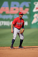 Mississippi Braves shortstop Ray-Patrick Didder (13) during a Southern League game against the Jackson Generals on July 23, 2019 at The Ballpark at Jackson in Jackson, Tennessee.  Jackson defeated Mississippi 2-0 in the first game of a doubleheader.  (Mike Janes/Four Seam Images)
