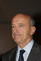 Alain Juppe, Mayor of  Bordeaux, FRANCE and former French Prime-Minister speak in Montreal, September 5, 2012 in front of the French Chamber of Commerce in Canada.<br /> <br /> Alain Juppe, Maire de Bordeaux et ancien Premier Miinistre de la Republique Francaise parle devant la Chambre de Commerce Francaise au Canada, le 5 septembre 2012, a Montreal