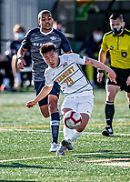 9 April 2021: University of Vermont Catamount Men's Soccer Defender Brian Son, a Freshman from Glastonbury, CT, in first-half action against the University of New Hampshire Wildcats at Virtue Field in Burlington, Vermont. The Catamounts fell to the visiting Wildcats 2-1 for their first loss of the season in America East, Division 1 play. Mandatory Credit: Ed Wolfstein Photo *** RAW (NEF) Image File Available ***